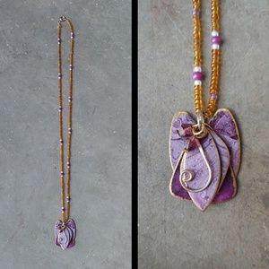 Handmade Repurposed Purple Gold Pendant Necklace